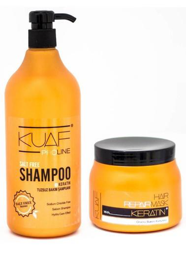 Kuaf Proline Kuaf Tuzsuz Şampuan 1 L + Keratin Saç Maskesi 500 ml Renksiz